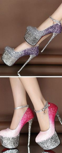 Trendy High Heels For Ladies : Good-looking Contrast Color Glitter Platform Heels Hot Heels, Sexy Heels, Classy Heels, Glitter Mode, Glitter Heels, Glitter Uggs, Glittery Nails, Glitter Hair, Silver Heels