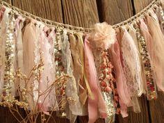 BOHO Blush Pink Gold Fabric Garland Birthday Banner Girl Rag Garland, Ribbon Garland, Fabric Garland, Garland Ideas, Banner Ideas, Shabby Chic Garland, Romantic Shabby Chic, Shabby Chic Style, Gold Fabric