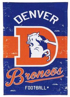 Denver Broncos Banner 2 Sided Vintage Distressed Logo