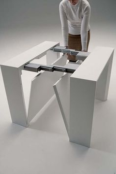 The Golietta is a transforming table system that expands from a small space saving console to a dining table with two self storing leaves. Folding Furniture, Expand Furniture, Transforming Furniture, Smart Furniture, Space Saving Furniture, Home Furniture, Furniture Design, Multipurpose Furniture, Multifunctional Furniture