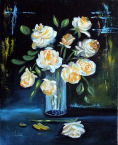 Fehér rózsák. olaj, farost, 50x40