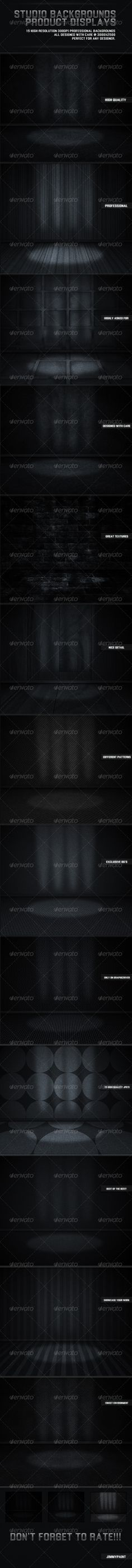 Studio Backgrounds Product Displays   #GraphicRiver        Studio Background Product Displays by JimmyPaint Beautiful dark studio display backgrounds and backdrops. Center spotlight design to showcase your work. These backgrounds come in handy when designing different stage environments to display products, photos and text. These backgrounds utilize different shades of black, gray and white leaving you a clean solid neutral finish. They also have details all along the back walls which varies…