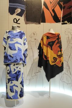 """* Yves Saint Laurent """"la collection du scandale"""" 1971 Tissu Abraham dessiné par André Barrieu"""