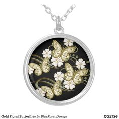 Gold Floral Butterflies Silver Plated Necklace Black Felt, Colorful Backgrounds, Silver Plate, Butterflies, Plating, Sterling Silver, Floral, Gold, Butterfly
