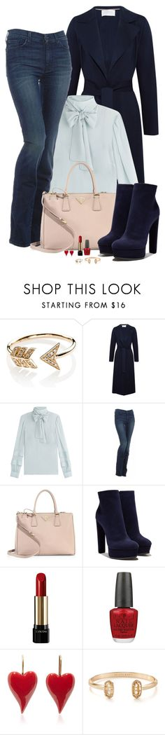 """""""Everyday Blue"""" by spells-and-skulls ❤ liked on Polyvore featuring EF Collection, Harris Wharf London, RED Valentino, 7 For All Mankind, Prada, Casadei, Lancôme, OPI, Kendra Scott and valentino"""