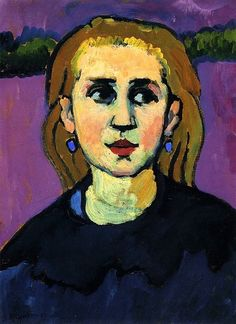 ♀ Painted Art Portraits ♀ Gabrielle Münter | Woman in Black, 1909