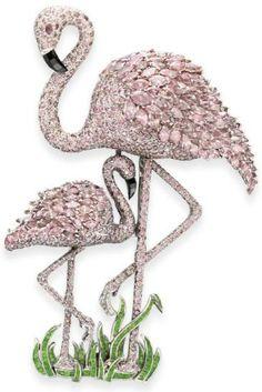 Diamond Flamingo Brooch.