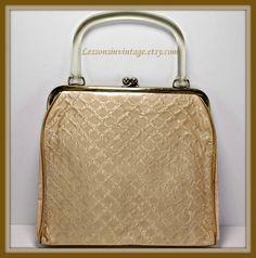 Vintage Handbag Vintage Satin Handbag Vintage by LessonsInVintage