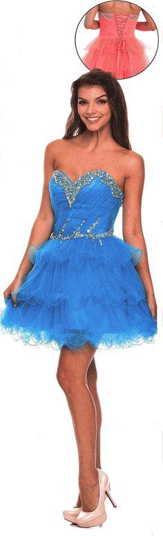 Prom Dresses<BR>Sweet 16 Dresses<BR>Quinceanera Dresses under $100<BR>1222<BR>Short sweetheart neckline dress triple ruffle ready skirt