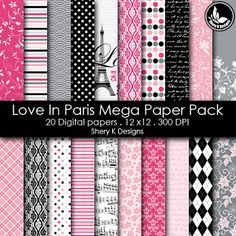 Free Printable 2 Digital Paper 12x12 love in paris