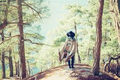 Woman walking in summer forest @creativework247