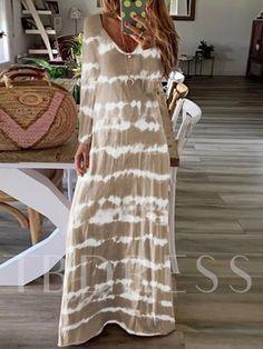 Long Sleeve Striped Dress, Tie Dye Long Sleeve, Long Sleeve Maxi, Striped Maxi Dresses, Maxi Dress With Sleeves, V Neck Dress, Cute Dresses, Sleeved Dress, Casual Dresses