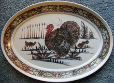 Items similar to Serving Tray Turkey Melamine Waverly Products Consolidated Molded Products on Etsy Vintage Thanksgiving, Vintage Holiday, Thanksgiving Turkey, Turkey Platter, Turkey Dishes, Turkey Farm, Turkey Holidays, Oldies But Goodies, Vintage Decor