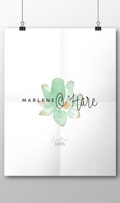 Simple Watercolor Logo Design. Minimalist PSD by CreativeKiosk