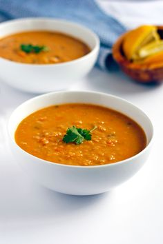 This red lentil soup with lemon is easy to pull together any night of the week. For a heartier meal, thin the soup with a little extra water and serve over rice.