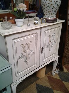 FRENCHY CABINET now rebamped as BATHROOM or LINEN CUPBOARD! I LOVE IT!