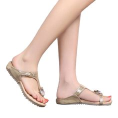 d87abbd1a Fheaven Women Sweet Rhinestone Flat Heel Anti Slip Beach Shoes Sandals  Slipper    Nice to have you for seeing our photograph. (This is our  affiliate link)   ...