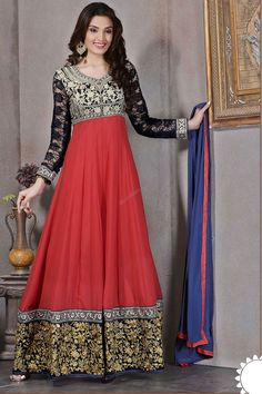 Red Anarkali Churidar Suit and Blue Dupatta price:RM289.00 e the center of…