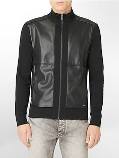 x fit ultra slim fit perforated faux leather knit jacket