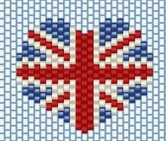 grille peyote brick stich, coeur UK londres ,#j'aime les perles #london #angleterre #drapeaux #love_england