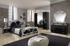 Dark Luxury Bedrooms | Collections MCS Classic Bedrooms, Italy Sara Black w/Silver