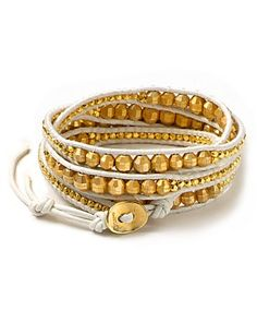 Chan Luu White Leather and Goldtone Bead Wrap Bracelet, 32"