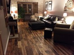 """""""I had so much fun choosing the color of the next piece of flooring and am so happy with the finished results! So many of the pieces were so unique, that they got showcased in areas that will never be covered by furniture or rugs… If you like the look of the multi-colors and the uniqueness of one piece of wood to the next, then you'll love this floor. It makes the room look and feel so warm."""" – Karen, WI [Tobacco Road Acacia]"""