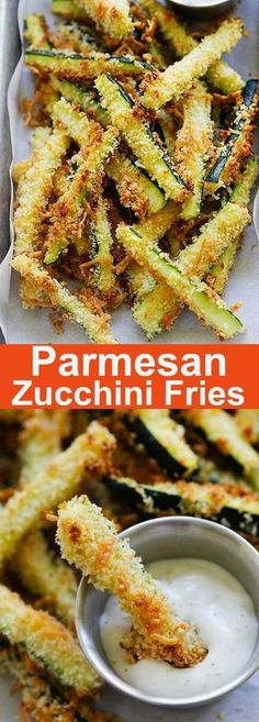 Crispy baked zucchini fries made with Japanese panko bread crumbs and Parmesan c. - Crispy baked zucchini fries made with Japanese panko bread crumbs and Parmesan cheese. Serve the zu - Zucchini Pommes, Parmesan Zucchini Fries, Baked Zuchinni Recipes, Healthy Zucchini Recipes, Low Carb Zucchini Fries, Bake Zucchini, Zucchini Chips, Baked Breaded Zucchini, Recipes With Parmesan Cheese