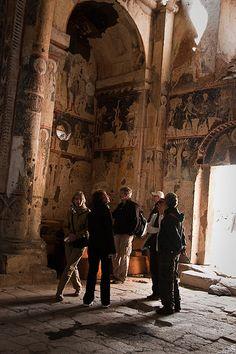Exploring a church interior in Ani, near to Kars, Turkey