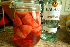 Strawberry Basil Infused Rum | VegWeb.com, The World's Largest Collection of Vegetarian Recipes