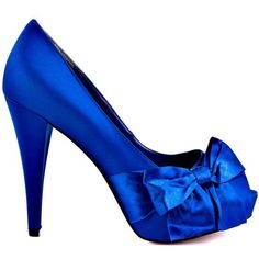 Feel fancy and free in these heels from Paris Hilton. Destiny features a royal blue satin through out the leather upper. This peep toe pump is topped with a pr…