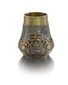 A Fabergé silver-gilt and cloisonné enamel vase, workmaster Feodor Rückert, Moscow, 1908-1917