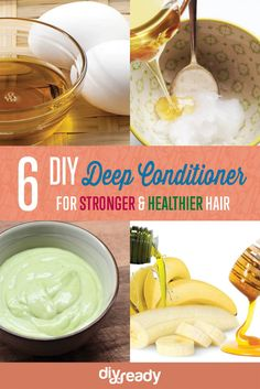 6 DIY Deep Conditioner Recipes - Homemade Natural Beauty Products for Strong & Healthier Hair Homemade Deep Conditioner, Diy Conditioner, Deep Conditioner For Natural Hair, Natural Beauty Tips, Natural Hair Care, Natural Hair Styles, Luscious Hair, Home Remedies For Hair, Hair Remedies