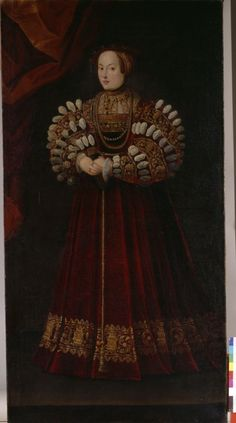 """Portrait of Archduchess Elizabeth of Austria (wife of King Sigismund II of Poland), painter unknown except for """"P.F."""" monogram, paint on panel, 1543-45, probably Bavarian or Austrian."""