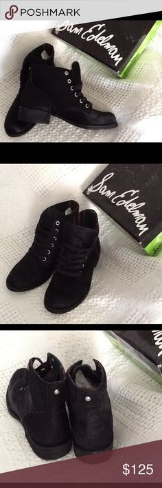 Black Ankle Boots Brand new in original box. These are made by Sam Edelman and have the style name of Bleeker. These are leather calf hair fur in a deep black. They lace up the front. Shaft is 4.5 inches from arch. Heel is 1.25 inches. Sam Edelman Shoes Ankle Boots & Booties
