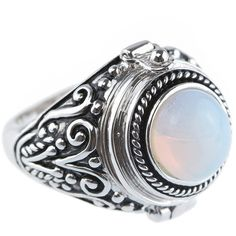 Beautiful silver moonstone locket ring complete with a small internal compartment. Shop silver rings at Rock N Rose!