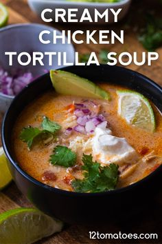 This rich, hearty soup is perfect for cold winter nights! Mexican Food Recipes, Soup Recipes, Cooking Recipes, Kraft Recipes, Mexican Dishes, Casserole Recipes, Chicken Recipes, Pre Cooked Chicken, Cheesy Chicken