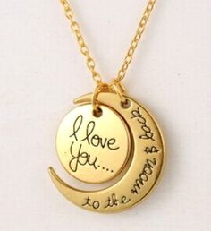 """Let your loved ones know how much you care with these beautiful I Love You To The Moon Necklaces. - Sterling silver necklace featuring two-piece moon pendant engraved with loving message of """"I love yo"""