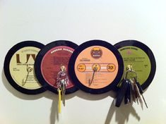 Still listen to records? Of course, LPs are easy to store, but what about your stack of records? Store your while showing your affinity for all things vinyl. Cd Crafts, Music Crafts, Music Decor, Vinyl Crafts, Vinyl Record Projects, Vinyl Record Art, Vinyl Art, Record Decor, Record Wall
