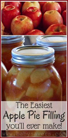 An easy recipe for DIY canned apple pie filling: Use it for pies, apple crisp, cake and more. Pin it now and be ready when apple season comes around!