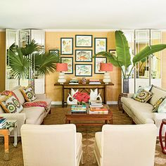 Play with Color: Vintage furniture, colorful fabrics, and island-inspired decor recall a 1970s tropical resort. Metallic accents add just the right amount of glam to the room.