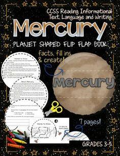 Mercury: Planet Shaped Flip Flap Book {Solar System} ($) Planet Crafts, Mercury Planet, Planet Project, Solar System Poster, Project Mercury, Solar System Projects, Planet For Kids, Science Space, Solar System Planets