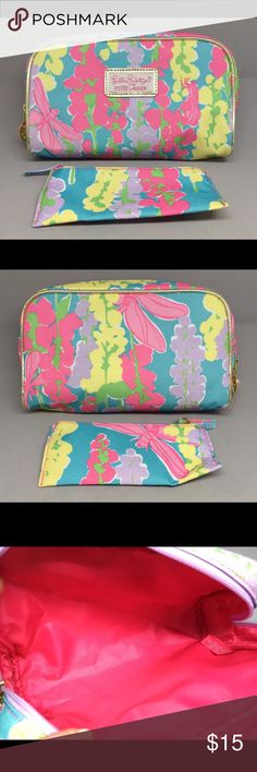 Estée Lauder Lilly Pulitzer Makeup Case Travel Bag Cute makeup/cosmetic travel bag by Lilly Pulitzer by Estée Lauder. Bright print with flowers & dragonflies. Perfectly clean & never used, still has plastic on the zipper pull. Lilly Pulitzer Bags Cosmetic Bags & Cases