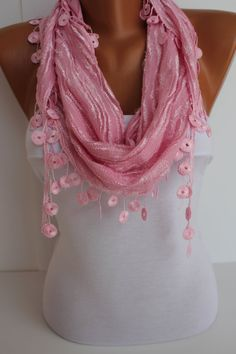 Pink Cozy Shawl Scarf  Headband with Lace Edge  Trending by DIDUCI, $15.50