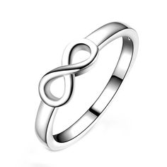 18K Gold Plated White Gold Finish Classic Infinity Ring Sz 6-10