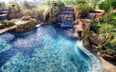 Insane Pools - Open Arms, not one but 3 waterfall into the pool, for an awesome party Luxury Swimming Pools, Luxury Pools, Dream Pools, Swimming Pool Designs, Insane Pools, Piscine Diy, Custom Pools, Beautiful Pools, Outdoor Pool