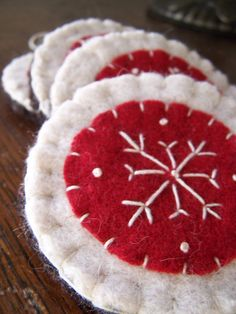 Red and White Wool Felt Snowflake Ornaments by Scissaroo on Etsy, $18.00
