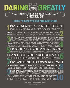 Engaged Feedback Manifesto - From Daring Greatly by Brene Brown. Beautiful!