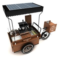 It needs a tow hitch and a lock for the back wheel to stop turning. That's a father and son (father's retirement) type business. Mobile Restaurant, Mobile Cafe, Food Cart Design, Food Truck Design, Coffee Shop Design, Cafe Design, Mobile Coffee Shop, Mobile Coffee Cart, Coffee Carts