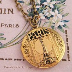 PARIS LOCKET NECKLACE / Eiffel Tower by FrenchRabbitCottage1